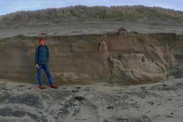 New sand cliff formed by wave action