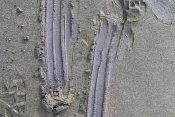 Purple coloration in sand, southern end of mile 246