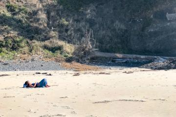 Sunbathing on Crescent Beach