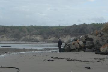 outlet meandered north up to ripraps of Klahanee. Howard was unable to go beyond rocks.
