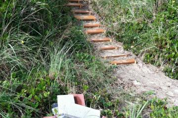 Longer view of trail and steps being constructed on landward side of foredune.