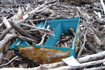 unidentified trash about 4x6 feet in size