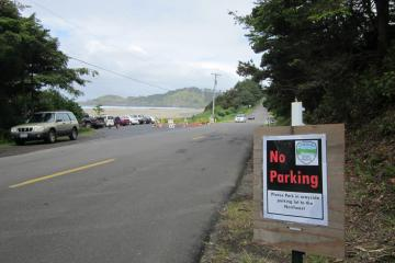 Authorities were forced to place a number of signs in and around the wayside to keep visitors from blocking the road and parking lot.