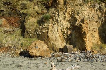 large rock dislodged from the cliff face