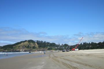 An overview of the dock removal project equipment (looking north along Agate Beach)