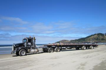 This large truck was used to move the lifting crane up the beach to the dock removal site