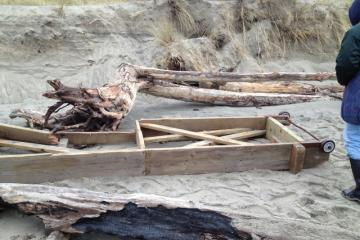 This wooden structure has washed along the beach for months