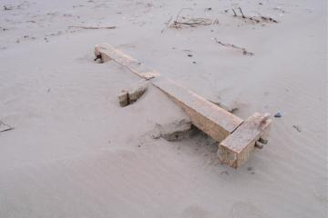For the last several months, wooden debris from Japanese construction are showing up on Bayocean Spit.