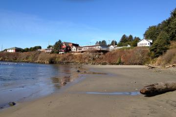 Notice the Landmark Inn, now closed, and the still inhabited house perched above the river.