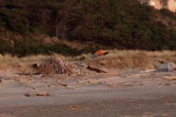 6 tents in the dunes south of the Inn at Spanish Head and north of the Siletz River