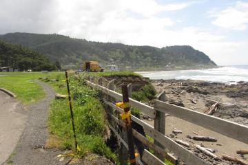 Erosion along Ocean View drive is such that the road is being moved further inland away from the shore.