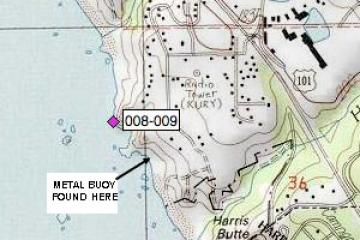 Map of Mile 8 with Metal Buoy location (see other photo of metal buoy and description).