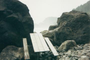 This picnic table is from a local State park, not tsunami debris. I will need to disassemble it in order to remove it. Look closely through the fog, and you can see Heceta Head lighthouse in the background.