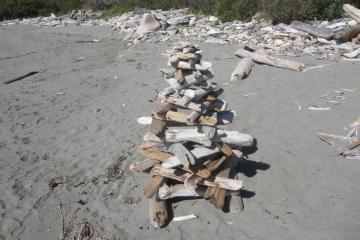 Mile 7, Beach art which took much patience.