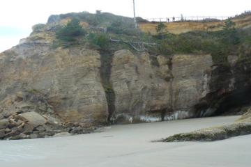 """Erosion/collapse of poorly consolidated sand""""stone"""" rock that forms outlook point.  I don't know when it happened as I don't always inspect this part of my mile (can't get to it when tide is higher)."""