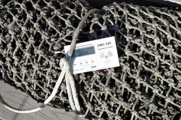 Since this bundled up fish net is so pourous, I thought it would be most likely to contain radioactivity. If you can zoom in on the digital readout, you can see that the Geiger counter is giving a reading of 22 clicks per minute.