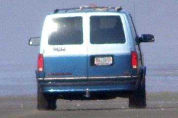 This was the blue Chevy Van that was speeding on the beach, disturbing feeding seabirds, and endangering lives.  The license was RUZ 031 if anyone sees it out there again!