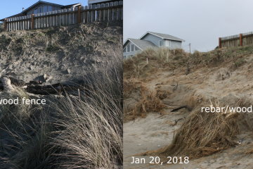 Sand shifting on the beach side of a septic system repair.