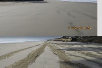 Cleaned-off beach, surf-stripped beach, np beach debris.