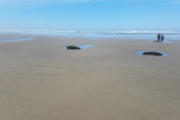 rocks above sand