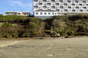 Landslide with Excavator